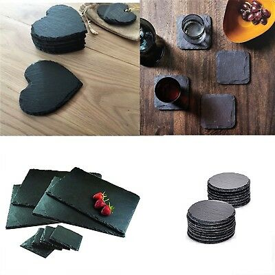£7.99 • Buy Natural Slate SQUARE ROUND HEART Coasters Coffee Table Drinks 10x10cm