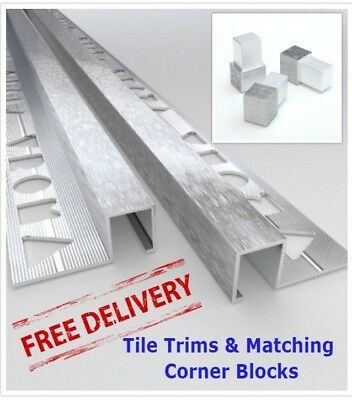 10x VROMA Tile Trims Box Shape Light Brushed Chrome *Matching Corner Blocks* • 75.99£