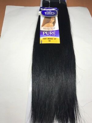 $27 • Buy Milky Way PURE Human Hair Weave Extension Yaky_14 _#1B