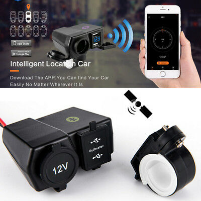 Blueteeth Motorcycle USB Cigar Lighter Charger LED Voltmeter Phone Location APP • 14.08£
