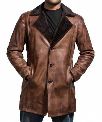 Hugh Jackman X-Men Wolverine Shearling Overcoat / Trench Leather Jacket For Men • 118£