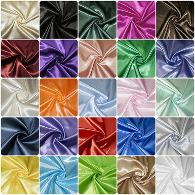 £4.50 • Buy Luxury Silky Satin Dress Craft Fabric Wedding Material 100% Polyester 150cm Wide