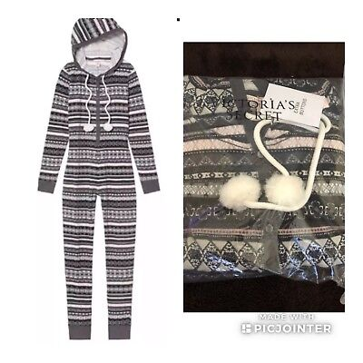 e0c30dda008 Victoria Secret Pom Thermal Long Jane OnePiece Pajama Black Ivory S • 65.00