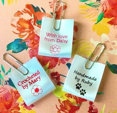 Handmade  Personalised Sew-in Craft Labels For Fabric, Satin Ribbon • 5£