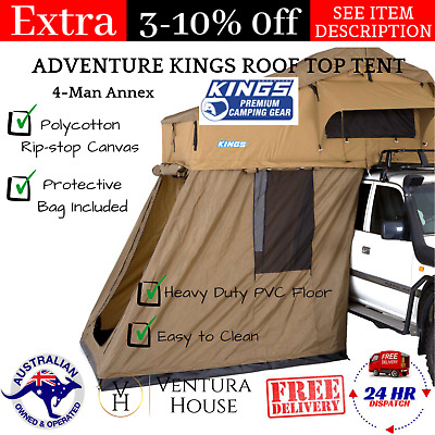 AU1465.20 • Buy Best Adventure Kings Roof Top Camping Tent With 4 Man Annex W/ Aluminium Ladder