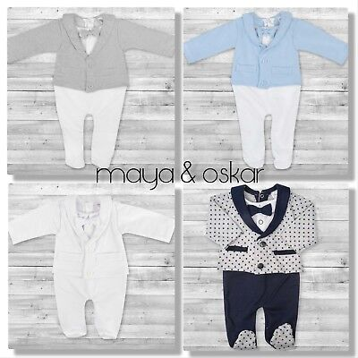 Baby Boy All-in-One Suit Wedding Christening Formal Party Smart Outfit 0 - 9m • 14.99£