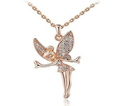 Rose Gold Plated Tinkerbell Pendant Necklace With Crystals UK • 8.99£