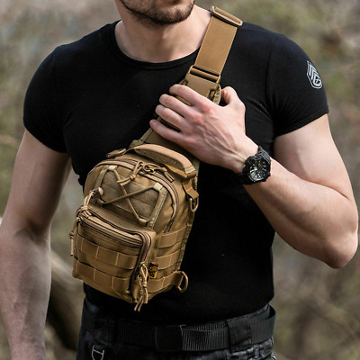 $14.99 • Buy Tactical Sling Bag Pack Small EDC Molle Assault Military Army Shoulder Backpack