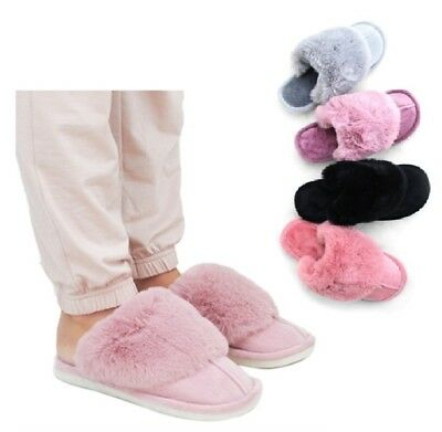 Ladies Luxury Faux Fur Sheepskin Winter Slippers Mules Non Slip Hard Sole Size  • 9.99£