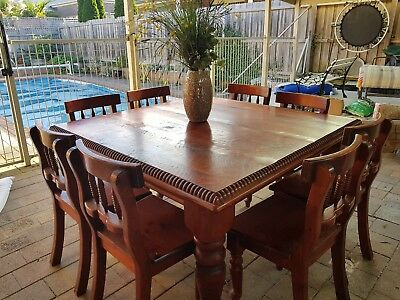 AU600 • Buy 8 Seater Dining Table & Chairs - 'Stephlea' Solid Wood. Excellent Condition