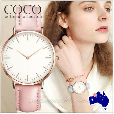 AU7.45 • Buy Classic Wristwatch Faux Leather Ladies Stylish Dress Simple Women Quartz Watch