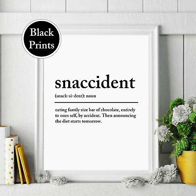 Snaccident Wall Print Definition Noun Typography Kitchen Wall Art Home Decor  • 4.49£