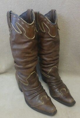 $22 • Buy Womens NaNa Brown Leather Wing Tip Slouch Cowboy Western Boots Sz 7