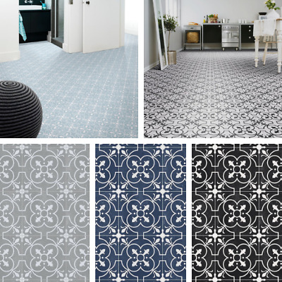 Victorian Tile Effect Sheet Vinyl Flooring Cushioned Kitchen Bathroom Lino Roll • 41.97£