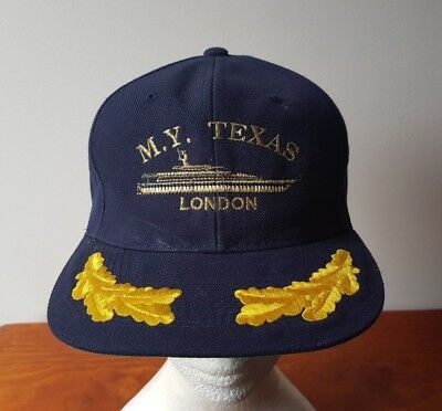 AU24.99 • Buy M.Y. Texas London Ship Hat Cap Navy Blue Embroidered Wool Acrylic Blend Snapback