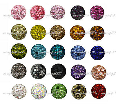 8mm Shamballa Beads Crystal Paved Clay Disco Ball For Bracelets • 2.46£