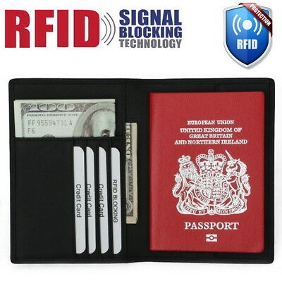 AU9.99 • Buy Genuine Leather RFID Blocking Passport Travel Wallet Holder ID Cards Cover Case