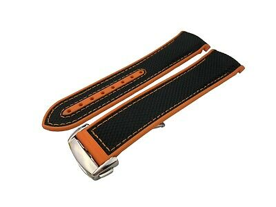 £27.50 • Buy Black-Orange Rubber Fabric Strap Band Fit OMEGA Watch 20mm 22mm Buckle Clasp