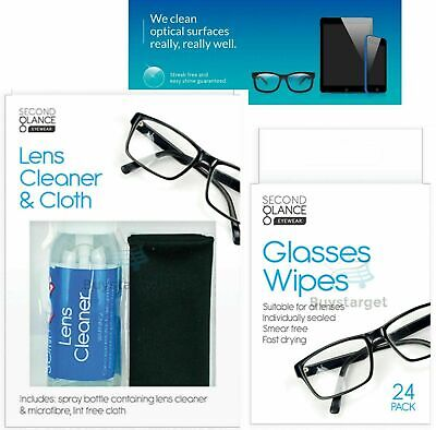 🔥 Glasses Cleaner Spray & Microfibre Cloth Wipes Spectacle Lens Camera Cleaning • 4.45£