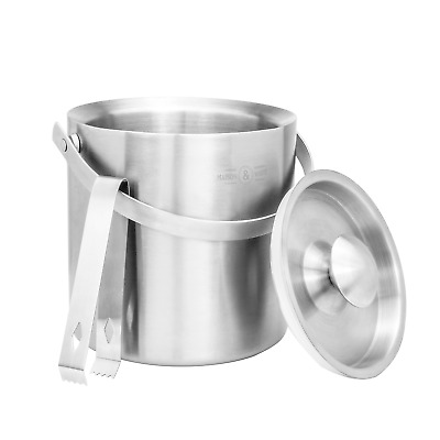 2L Ice Bucket With Tongs & Lid Insulated Double Walled Steel Cooler M&W • 17.99£
