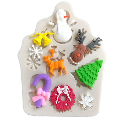 Snowman Tree Deer Silicone Fondant Mould Cake Decorating Baking Chocolate Mold • 2.59£