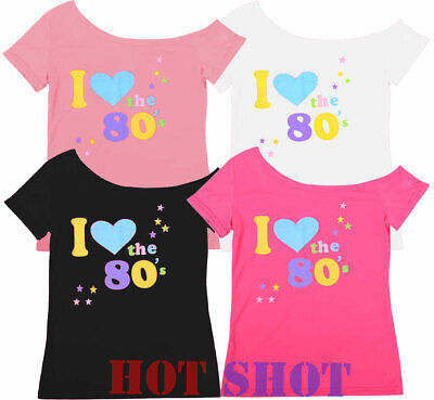 Womens Ladies Top 'I Love 80s' T-Shirt Fancy Dress Costume Neon Festival Outfit • 5.48£