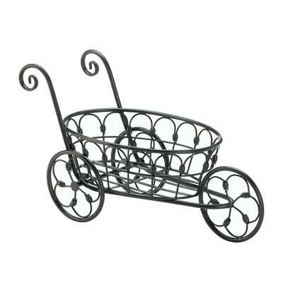 Black Iron Flower Cart Home Garden Tricycle Plant Pot Stand Holder • 37.95$