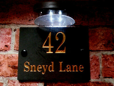 £22.50 • Buy Deeply Engraved Slate Plaque With The Number Of The House Door 15x20 Cm + Solar