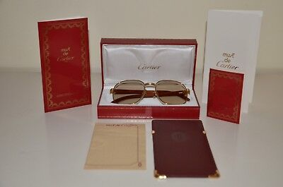 87a3cdb27ef Cartier Monceau Vintage Gold Sunglasses W  Rare African Bubinga Wood From  1990s • 3