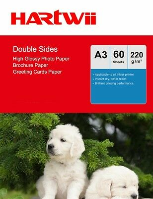 £14.49 • Buy A3 Double Sided High Glossy Inkjet Paper 220Gsm Photograph Paper  - 60 Sheets