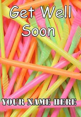£3.69 • Buy Rainbow Sherbet Straws Get Well Soon A5 Personalised Greeting Card
