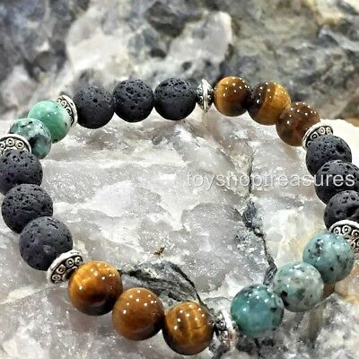 AU25.95 • Buy Aromatherapy Diffuser Essential Oil Lava Bracelet African Turquoise Tigers Eye