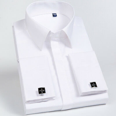 New Mens French Cuff Shirt Formal Slim Thin Casual Business Dress Shirts 6514 • 11.59£
