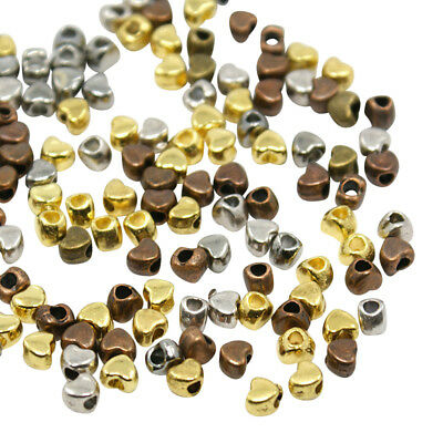 £0.99 • Buy ❤ 100 X Mixed Plated MINI HEART Spacer Beads 4mm Jewellery Findings UK Stock ❤