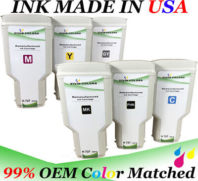 $522 • Buy Set Of 6 Refurbished HP727 300ML Cartridge For HP T2500 Printer MK PK C M Y GY