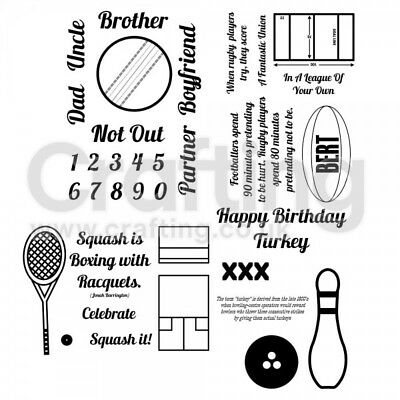 Male Bert & Gert's Clear Stamp Set Men Ball Games 4 X A6 Craft 30 + Ink Stamps • 9.99£