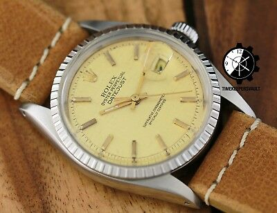 $ CDN5825.68 • Buy Authentic Rolex Datejust 36mm 1601 Stainless Steel Champagne Linen Dial Watch