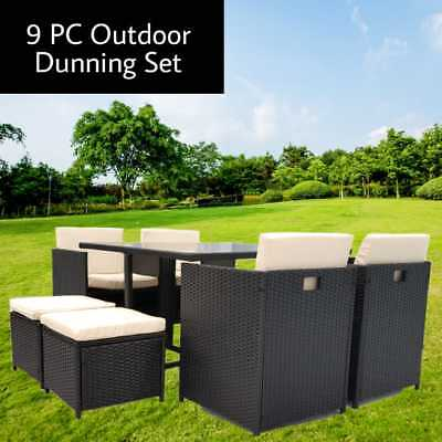 AU717.65 • Buy 9 Pieces Outdoor Rattan Wicker Furniture Lounge Setting Sofa Patio Set - Black