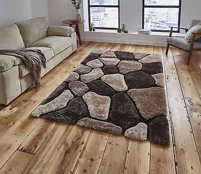 Think Rugs Nh5858 Beige Brown 120x170 150x230 Pebble Thick Shaggy Noble House • 99.99£