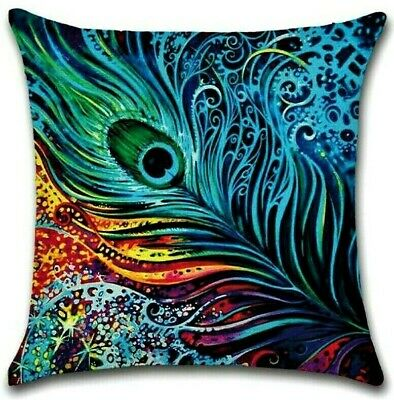 PEACOCK FEATHER CUSHION COVER 17  Purple Green Blue Orange Yellow Green Pink Red • 7.99£