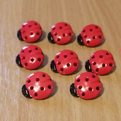 Ladybird Red And Black Buttons, Spotted Shaped Shank Size 15mm Novelty • 2.85£