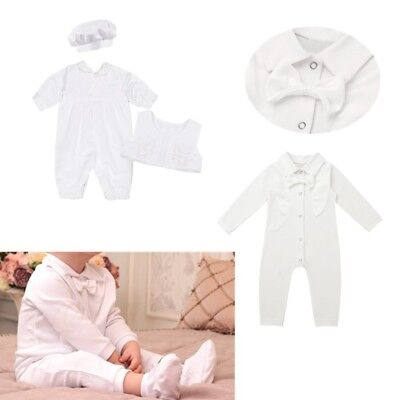 AU8.99 • Buy Baby Boys Baptism Outfit Toddler Christening Romper Jumpsuit Clothes Party Suit