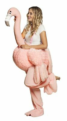 Adult Ride On Flamingo Costume Safari Animal Fancy Dress Outfit • 42.99£