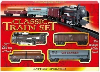 Classic Battery Operated Train Set With Tracks Light Engine Children Kids Toy • 7.98£