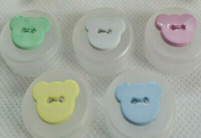 Teddy Bear Buttons Head Shape 2 Hole Buttons 15mm Baby / Children In 14 Colours. • 3.79£