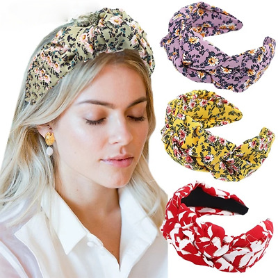 $ CDN4.14 • Buy Women's Hairband Girl Twist Knotted Headband Printing Wide Hair Band Accessories
