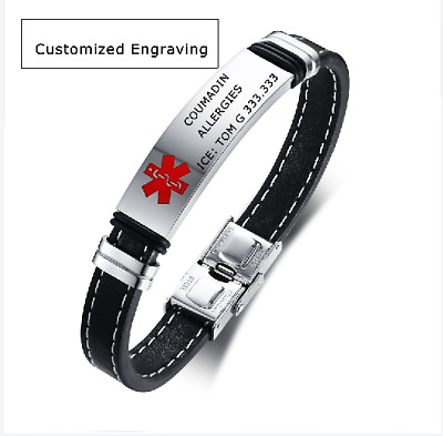 £6.89 • Buy Leather Medical Alert ID ICE Bracelet Bangle Cuff Stainless Steel Free Engraving