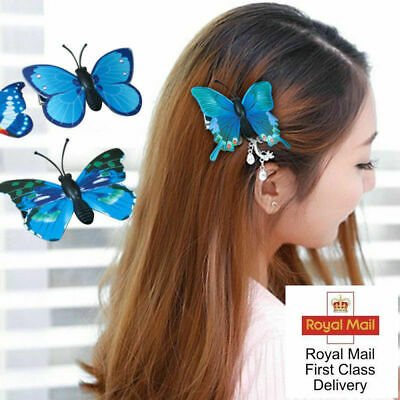 £4.99 • Buy 5Pcs 3D Butterfly Hair Clips Hairpin Accessory Festival Party Wedding Bridal UK