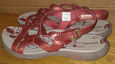 1cef3fcf0c22 MERRELL Agave 2 Lavish Strappy Women s Red Ochre Leather Sandals Sz 8 •  65.00