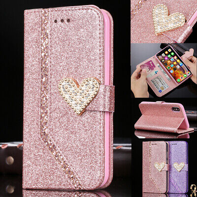 Luxury 3D Diamond Heart Bling Glitter Wallet Case Shockproof Stand Phone Cover • 7.25£